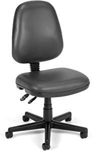 OFM Core Collection Straton Series Armless Swivel Task Chair, Anti-Microbial/Anti-Bacterial Vinyl, Mid Back, in Charcoal