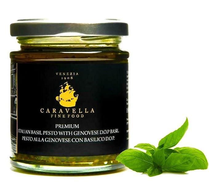 Caravella Premium Salsa PESTO GENOVESE Orgánico con DOP Albahaca y Aceite de Oliva virgen extra 180