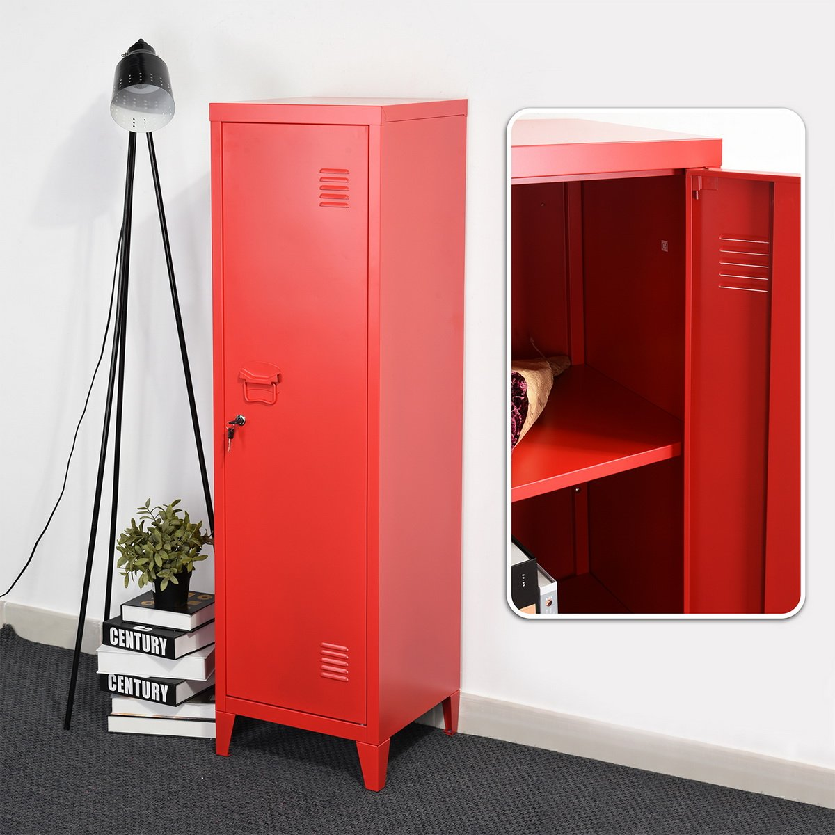 HouseinBox Office File Storage Metal Cabinet 3 Door Cupboard Locker Organizer Console Stand 3-in-1 (RED-Standing Locker) by HouseinBox (Image #6)