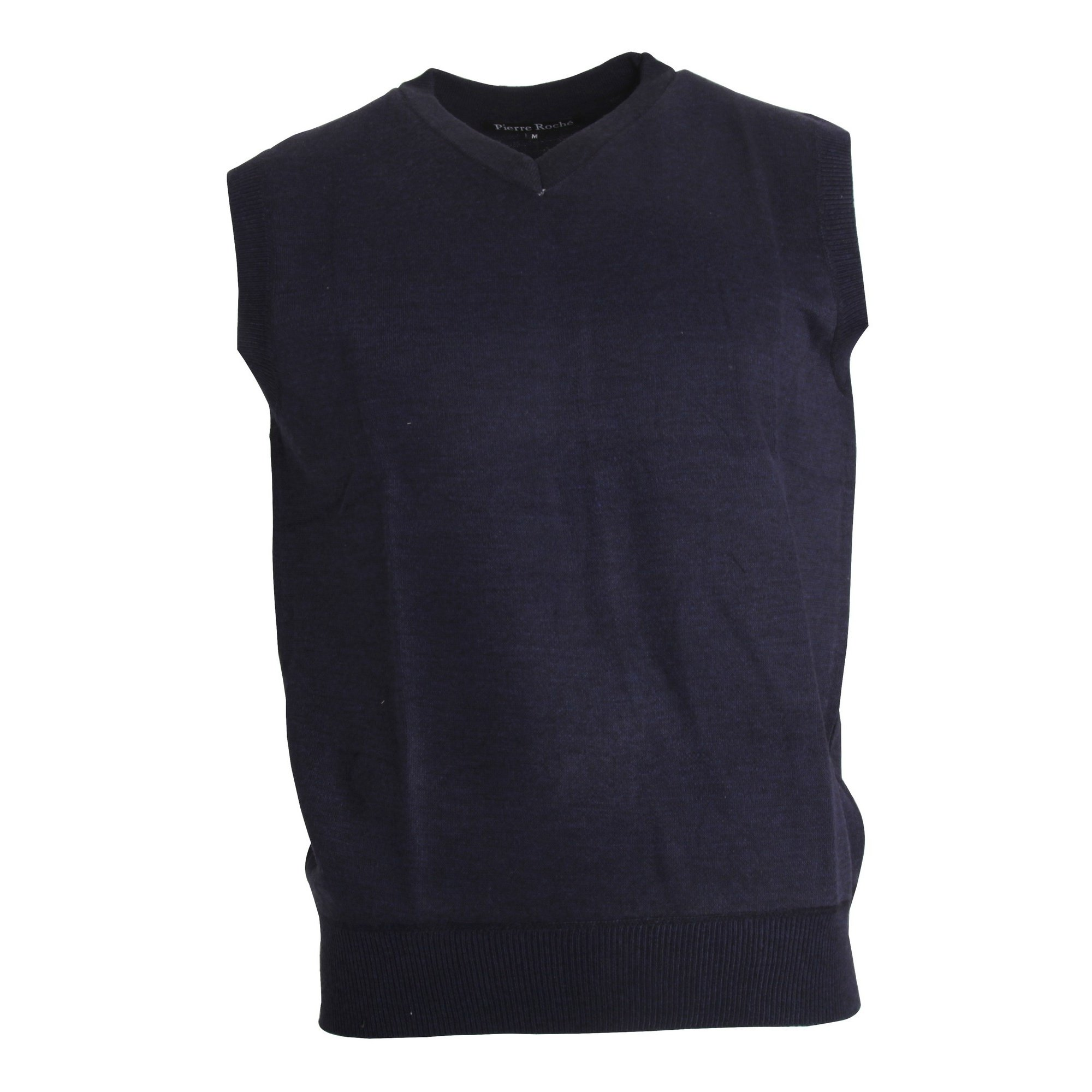 Pierre Roche Mens Plus Size V-Neck Sleeveless Sweater Vest (3XL) (Navy)