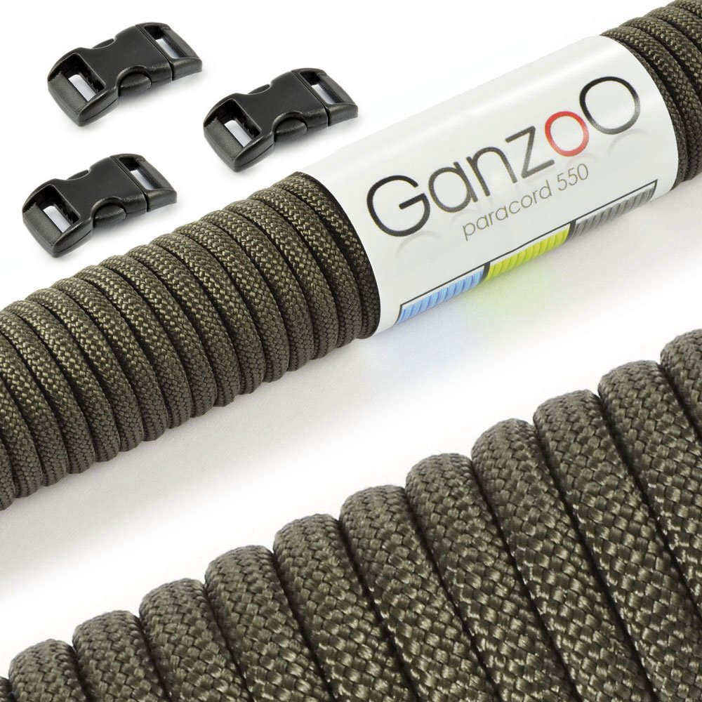 Ganzoo Paracord 550 - Set de iniciación de cuerda de supervivencia con 3 cierres de clip de plástico de 10 mm para hacer pulseras, correas de perro o collares de perro, 4 mm de grosor, con 7 filamentos en el núcleo, capacidad hasta 250 kg, recubrimiento de