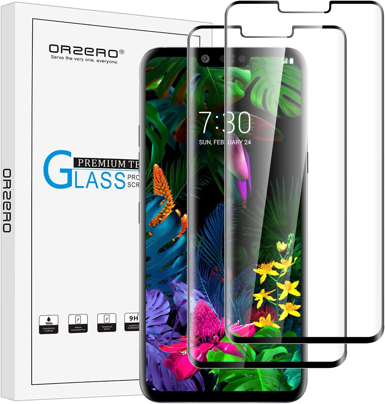 (2 Pack) Orzero Tempered Glass Screen Protector Compatible for LG G8 Thinq, (3D Curved Edge) 9 Hardness HD Anti-Scratch (Case Friendly)(Smaller Version) (Lifetime Replacement)