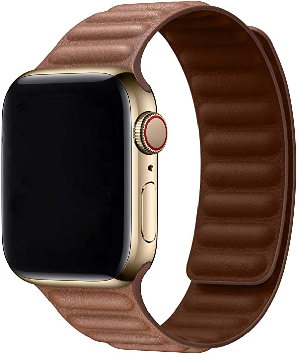 Hotflow Compatible with Apple Watch Band 42mm 44mm,Leather Link Band Replacement Strap Compatible for iWatch Series SE 6 5 4 3 2 1,Brown