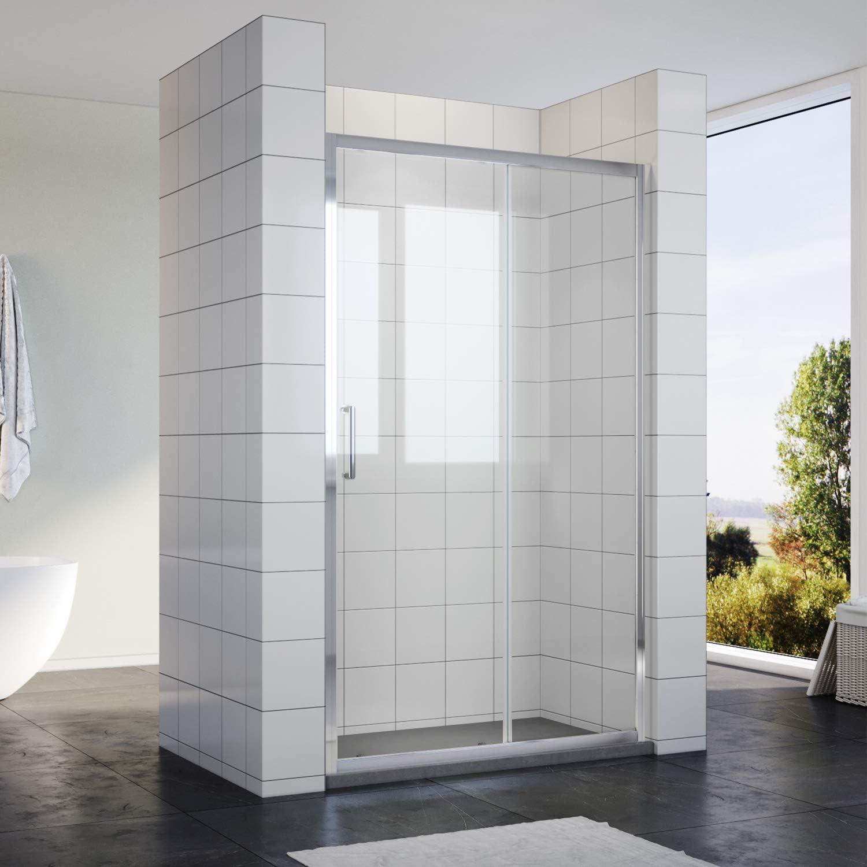 Mampara de ducha Nano de 8 mm, cristal de seguridad, puerta principal con pared lateral, altura 190 cm con plato de ducha: Amazon.es: Bricolaje y herramientas