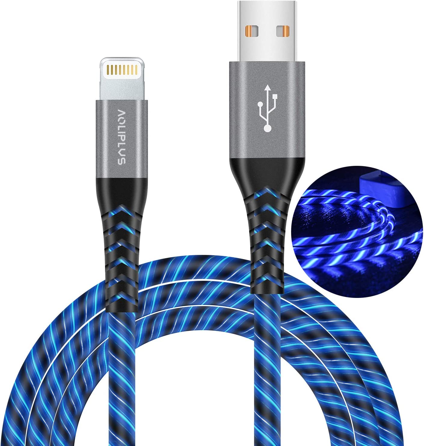 iPhone Charger Lightning Cable, MFi Certified Charger Cable Aoliplus LED Flowing Fast Charger Data Sync Transfer Cord Compatible with iPhone 11/Pro/Max/X/XR/XS Max/8/Plus/7/7 Plus/6S/6 Plus/SE (Blue)