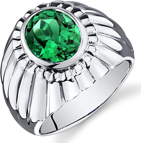 .925 Sterling Silver Radiant Cut Simulated Emerald /& Clear Birthstone CZ Ring
