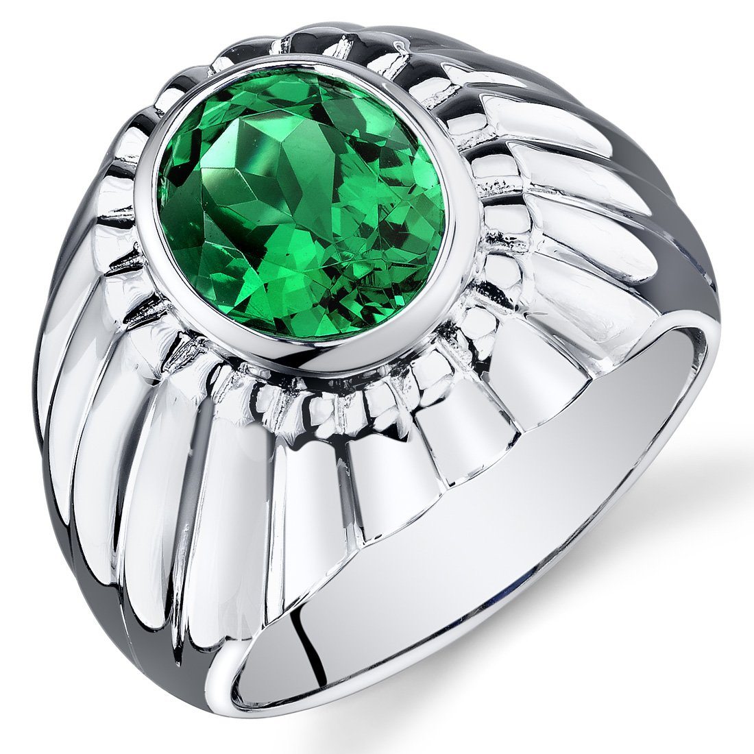 Mens Simulated Emerald Bezel Ring Sterling Silver 3.75 Carats Size 11