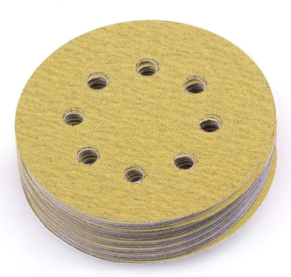 B06XDDZ3F2 LotFancy 5-Inch 8-Hole 80 Grit Dustless Hook-and-Loop Sanding Disc Sander Paper, Pack of 100 71VqHmj2JcL
