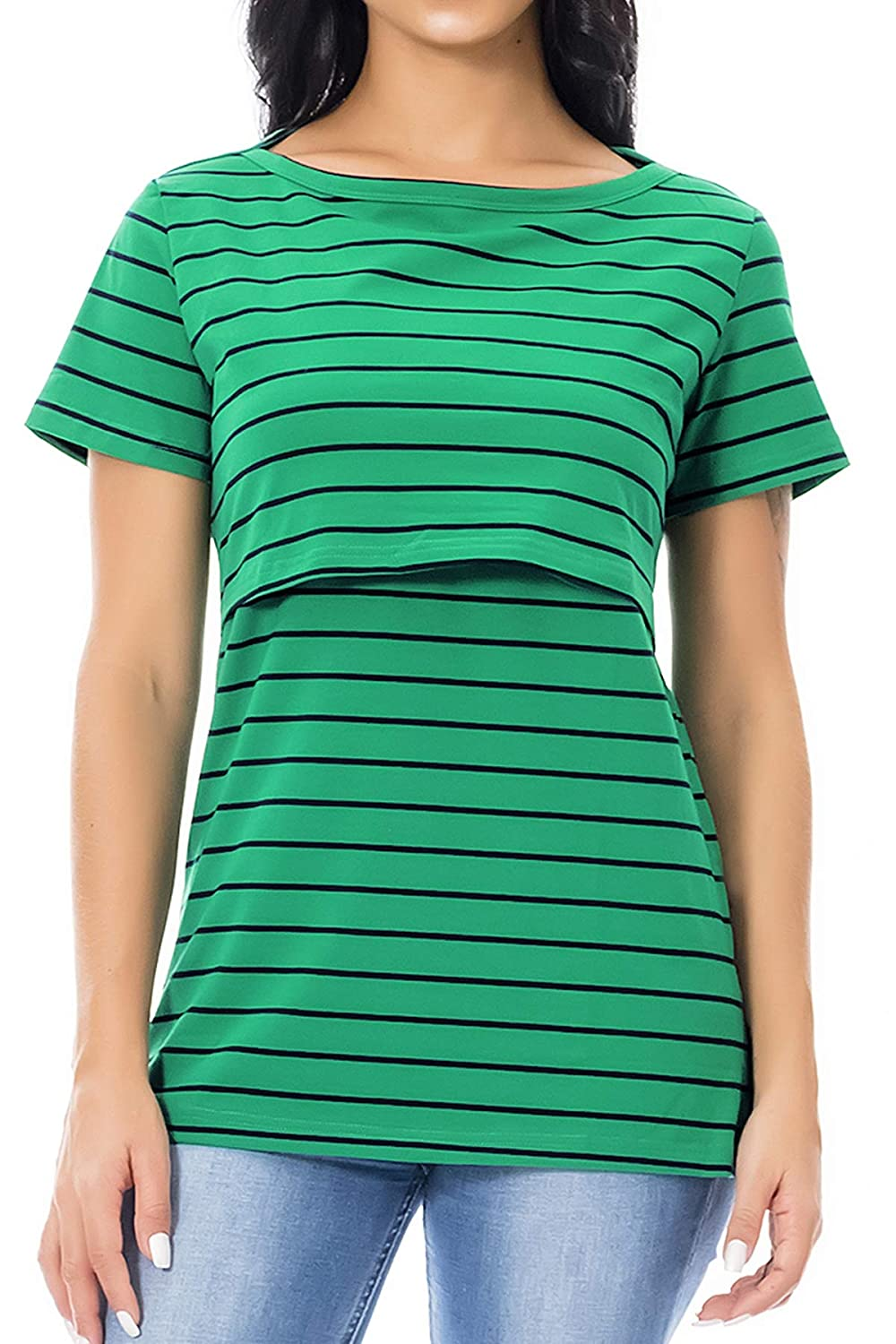 Smallshow Women's Maternity Nursing Top Stripe Breastfeeding T-Shirt