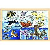 Goki - 2041636 - Puzzle En Bois À Encastrement - Animaux Polaires - 24 Pièces