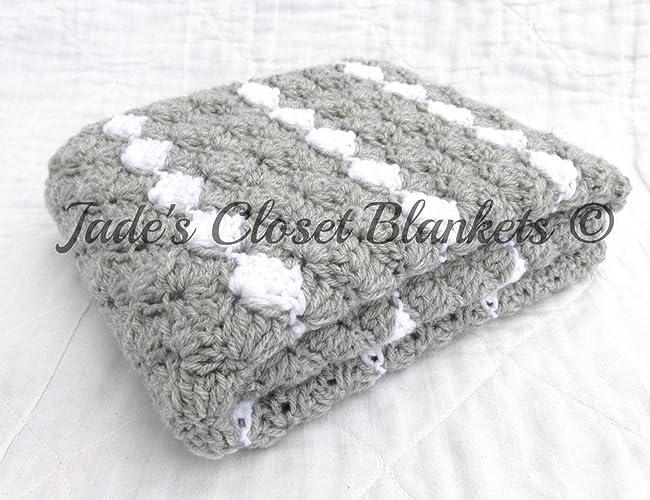 Amazoncom Crochet Baby Blanket Baby Blanket Crochet Gray Baby