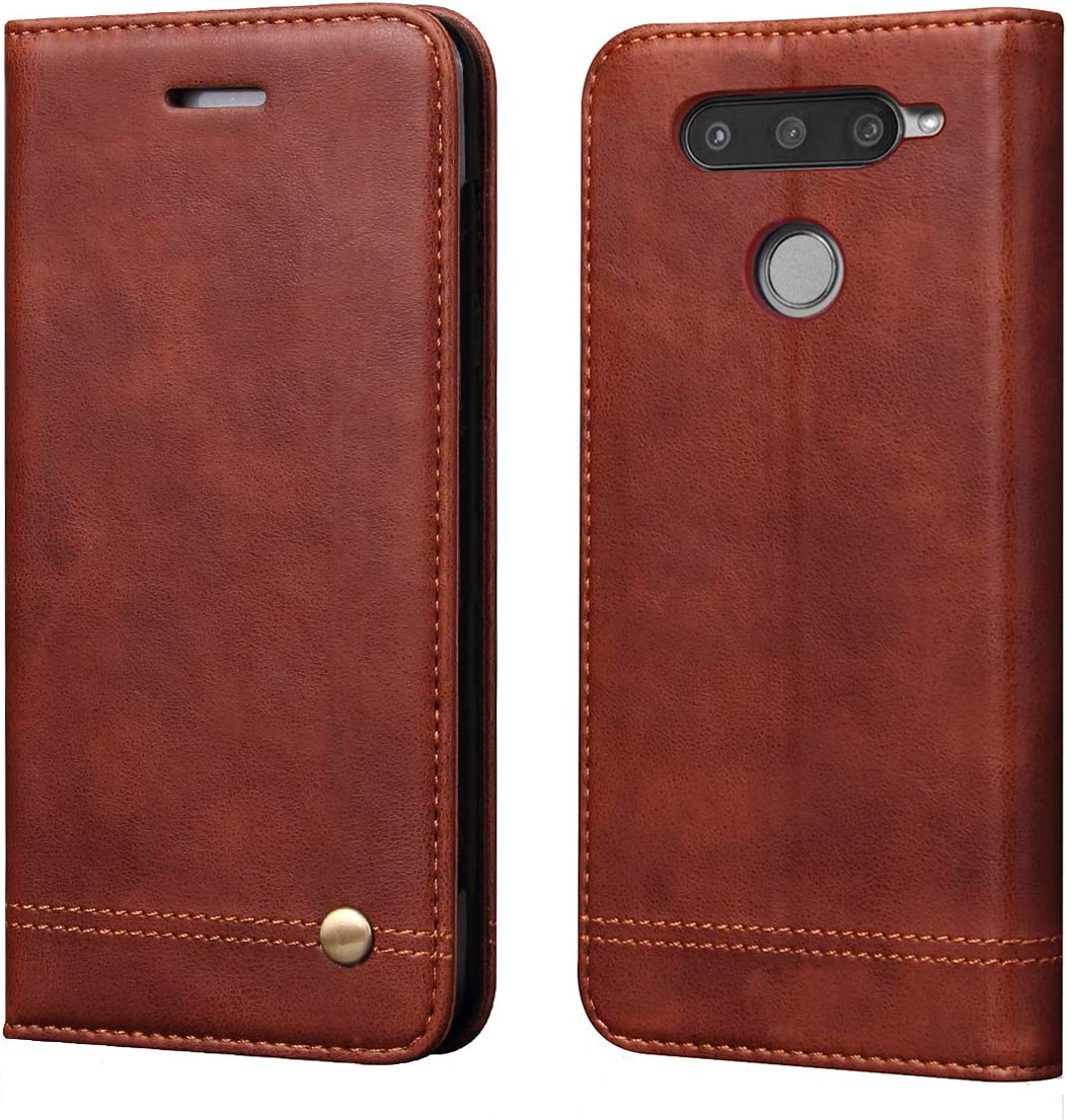 LG V40 ThinQ Case,LG V40 Case,RUIHUI Leather Wallet Folding Flip Slim Protective Case Shell Cover with Card Slots,Kickstand Feature and Magnetic Closure for LG V40 Thinq/Storm 2018 (Brown)