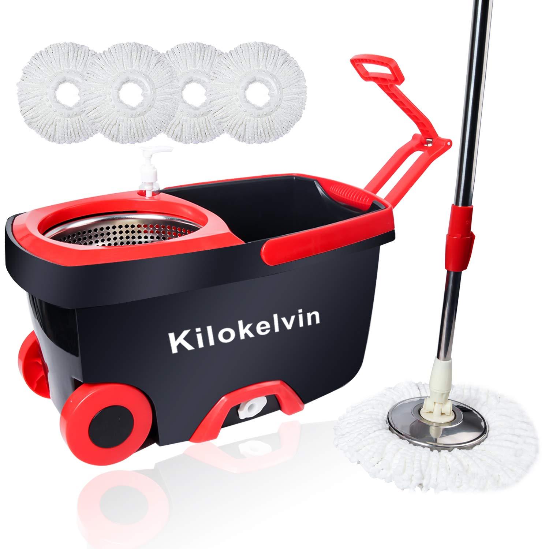 Kilokelvin Seau Balai /à Franges avec Acier Inoxydable Panier de Drainage 360 Spin 5 T/êtes Microfibre et Adjustable Poign/ée Facile /à Laver les Sols