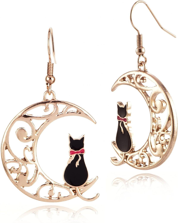 MIXIA Cute Anime Cartoon Sailor Moon Animal Cat Moon Earrings Gift for Girls Women Jewelry
