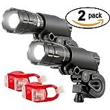 Bright Eyes Aircraft Aluminium Waterproof 300 Lumen LED Bike Light Set (Headlight, TailLight), 2 Pack