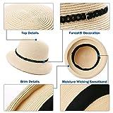 Womens Rolled Brim Panama Packable Straw Fedora