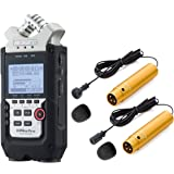Zoom H4n PRO 4-Channel Handy Recorder Bundle with Movo Pro Grade Omnidirectional and Cardioid XLR Lavalier Microphones