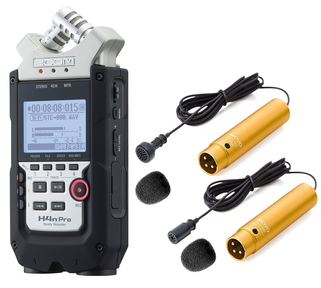 Zoom H4n PRO 4-Channel Handy Recorder Bundle with Movo Pro Grade Omnidirectional and Cardioid XLR Lavalier Microphones by Movo (Image #1)