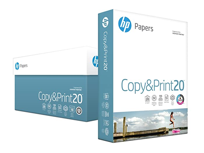 HP Printer Paper, Copy and Print20, 8.5 x 11 Paper, Letter Size, 20lb Paper, 92 Bright, 5,000 Sheets / 10 Ream Carton (200060C) Acid Free Paper
