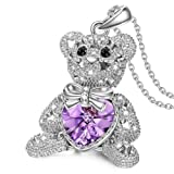 "Amazon Price History for:J.NINA ""Bucci Bear-Be Optimistic"" Teddy Bear Style Pendant Necklace. Made with Swarovski Crystals, Adored with Star-shaped Hollow."