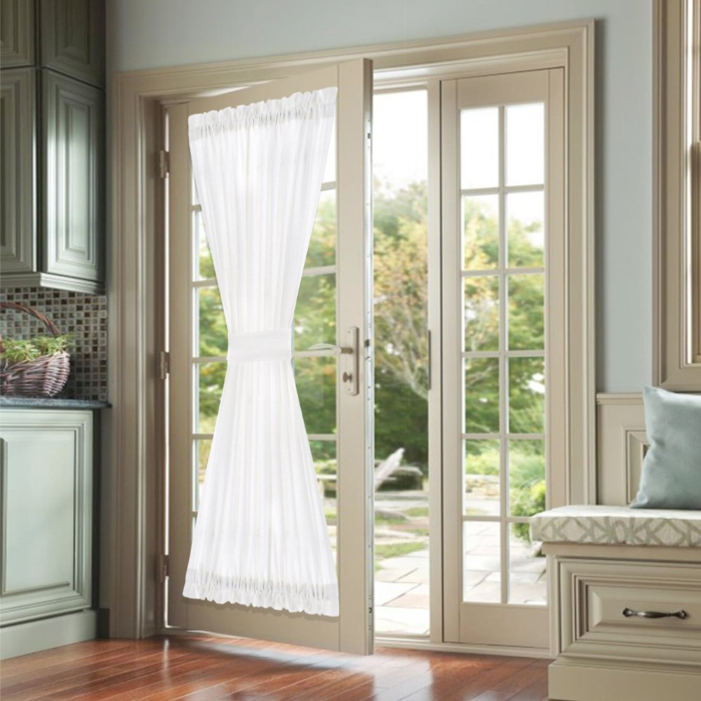 jinchan French Door Curtains White 40 Inch Privacy Casual Weave Textured Rod Pocket Drapes for Living Room Tieback Included One Panel
