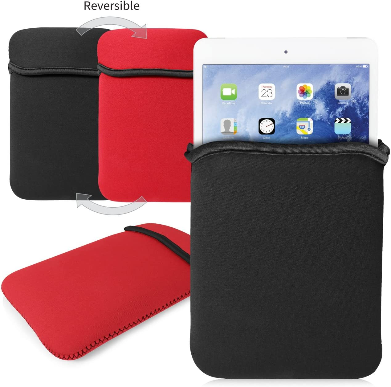 G-HUB - Reversible Neoprene Sleeve for iPAD MINI & iPAD MINI 2 - Cover is BLACK on the outside (or RED when reversed) - Designed by G-Hub specifically for use with the Apple iPad Mini and iPad Mini 2