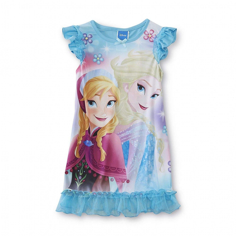Disney Frozen Anna Elsa Girl Short Sleeve Nightgown Pajama Size 8
