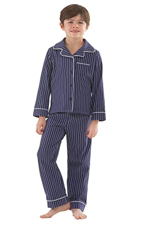 PajamaGram Cotton Jersey Classic Stripe Button-Front Pajamas, Navy, Big Boys 6