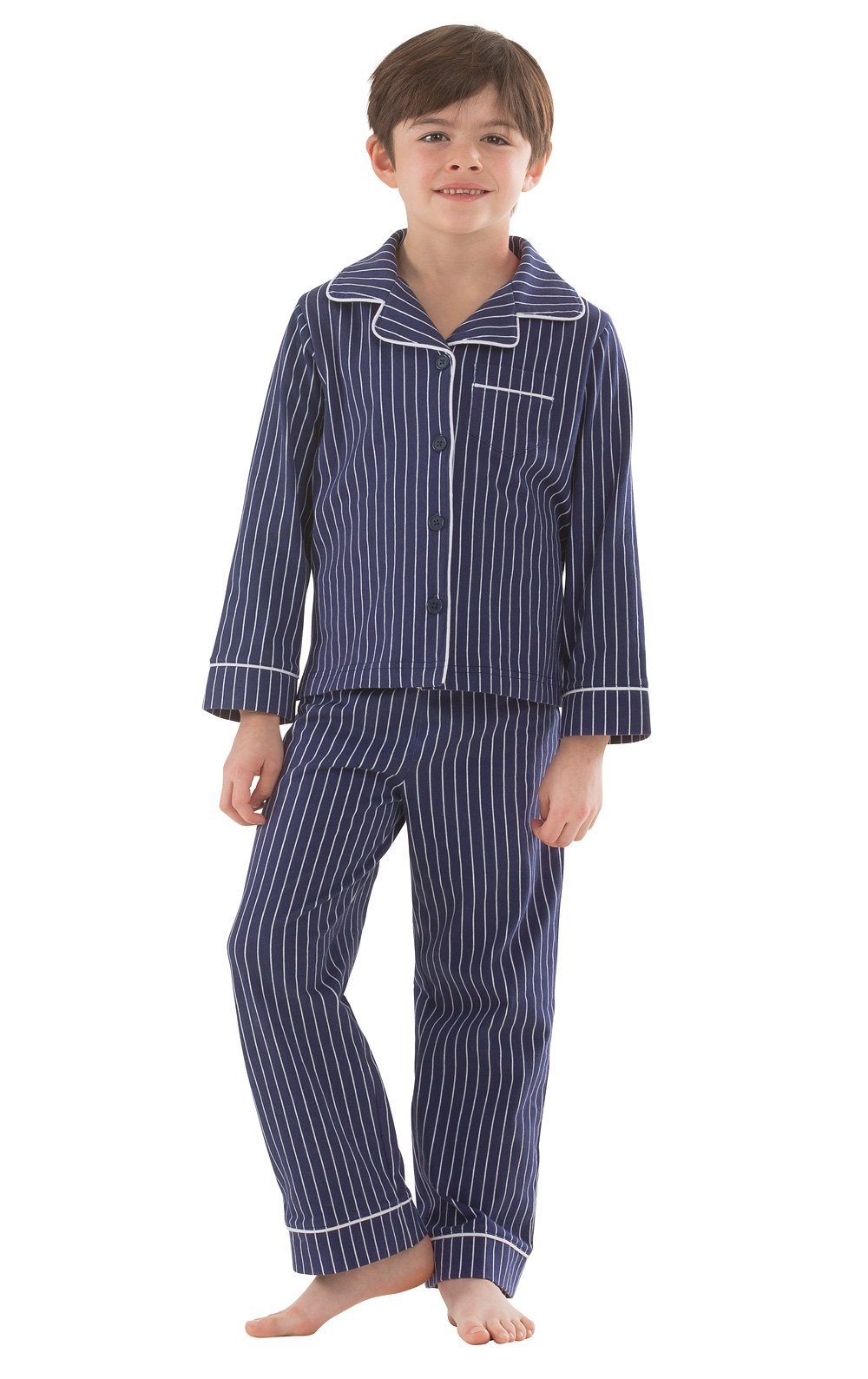 PajamaGram Big Boys' Pajamas Jersey - 2 Piece Long Sleeve Pajamas for Boys Navy