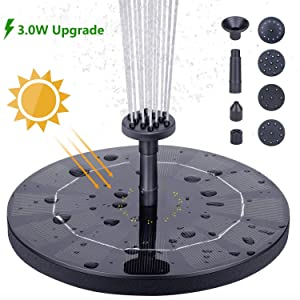 HEYSTOP Solar Fountain Pump, 3.0W Circle Solar Water Pump Floating Fountain Built-in Battery, with 6 Nozzles, for Bird Bath, Fish Tank, Pond or Garden Decoration