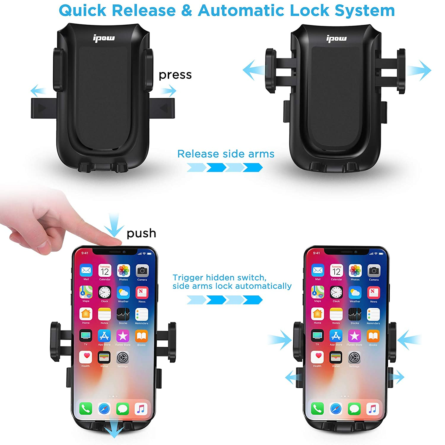 IPOW Air Vent Car Phone Mount Auto Lock Strong Phone Grip Sturdy Metal Backward-Hook Vent Blade Grasp One Hand Operation 360 Degree Rotation Cell Phone Holder for Car Compatible with All Smartphones