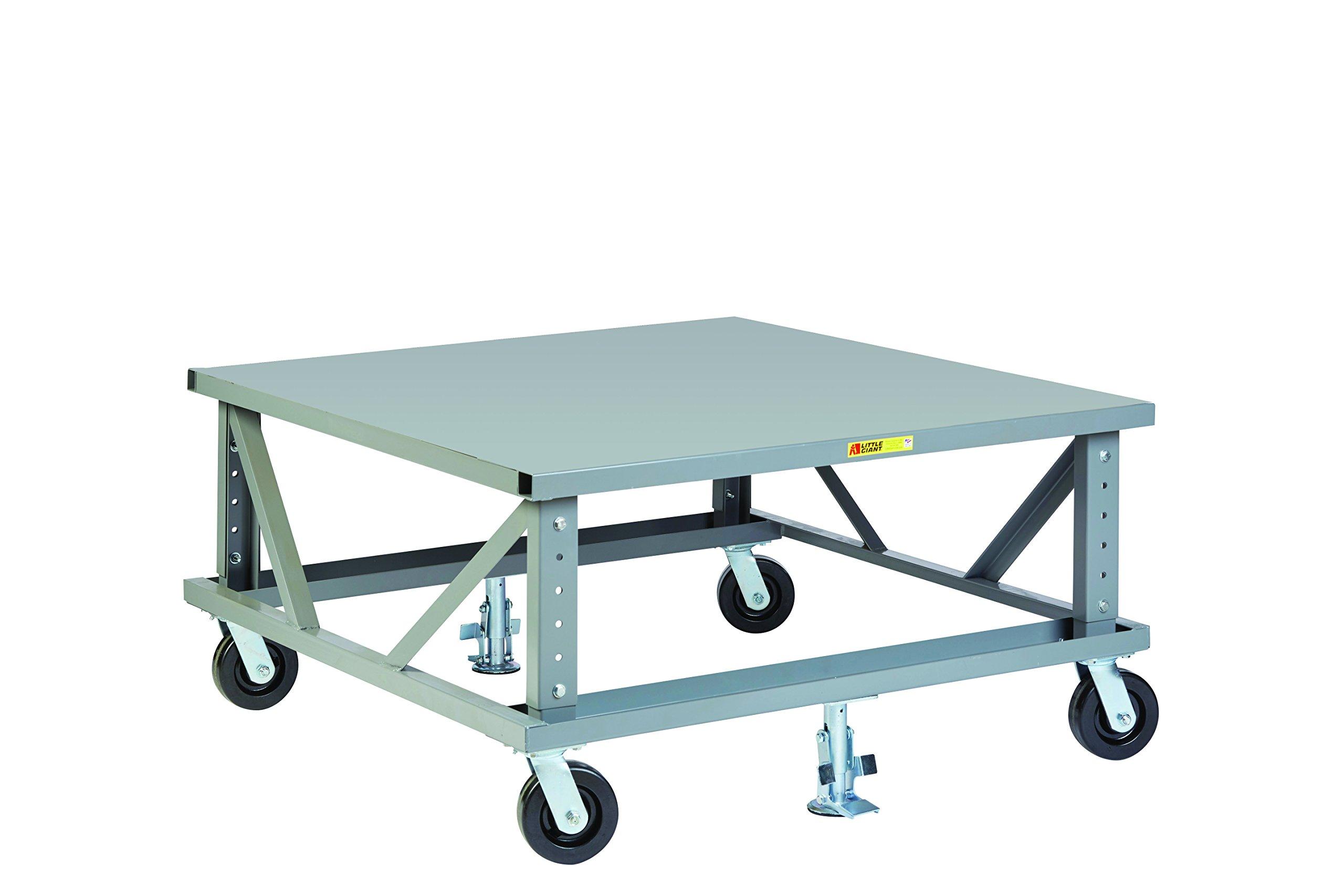 Little Giant PDSE4248-6PH2FL Ergonomic Adjustable Height Pallet Dolly, 42'' x 48'', Gray