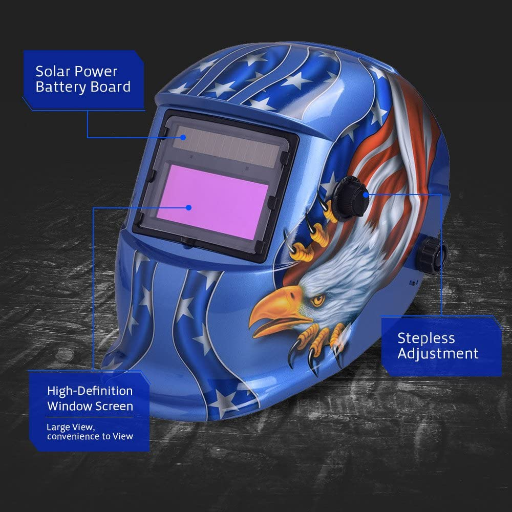 Nuzamas ad energia solare saldatore auto-oscurante maschera saldatura blu Eagle Face protezione per ARC TIG MIG grinding taglio al plasma con paralume regolabile gamma DIN4//9-13 UV//IV