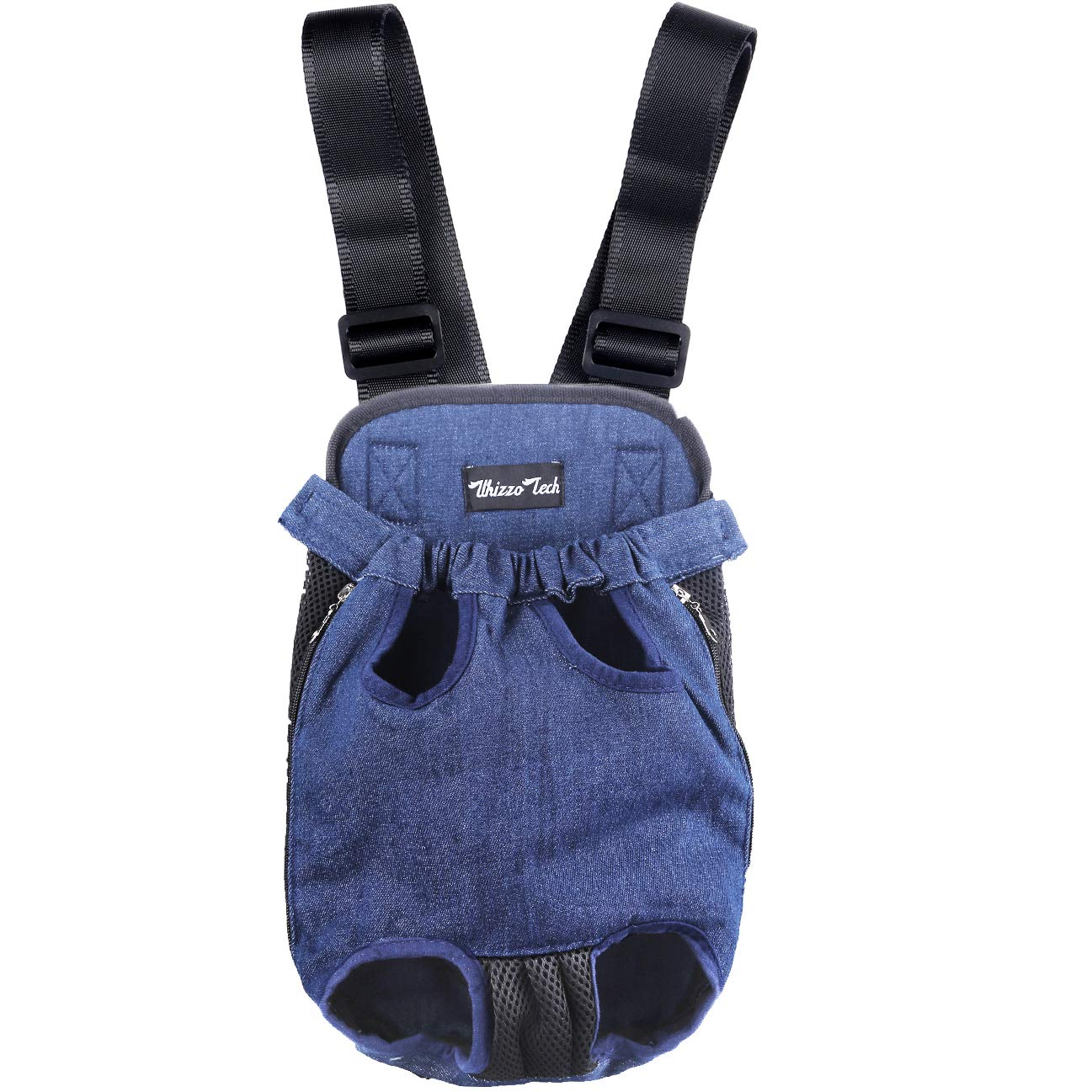 Whizzotech Pet Carrier Backpack, Adjustable Pet Front Cat Dog Carrier Backpack Travel Bag, Legs Out, Easy-Fit for Traveling Hiking Camping PB03 (L, Denim)