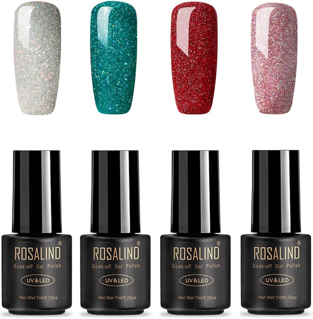 ROSALIND Esmaltes Semipermanentes de Uñas en Gel UV LED de Color Neon, 4pcs Kit de Esmaltes de Brillo Uñas 7ml ( Rainbow Gel)