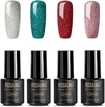ROSALIND Esmaltes Semipermanentes de Uñas en Gel UV LED de Color Neon, 4pcs Kit de Esmaltes de Brillo Uñas 7ml (Rainbow Gel): Amazon.es: Belleza