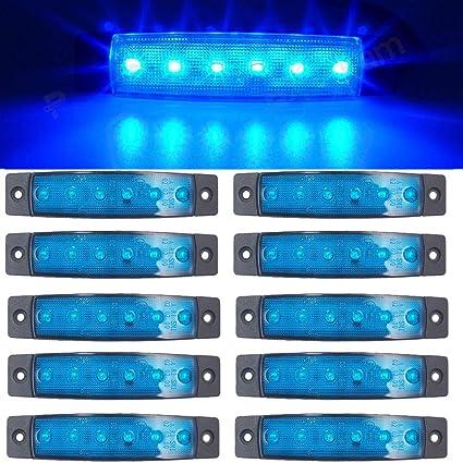 Led Seitenmarkierungsleuchten 10 Stücke Led Lkw Seitenlichter 6 Smd Led Seitenmarkierungs Kontrollleuchte Vorne Hinten Seitenlicht Positionslampen 12 V Für Auto Blau Auto
