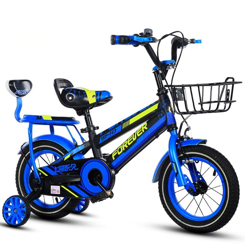 子供用自転車、ボーイバイク、快適な後部座席付きの25歳の男の子に適した12インチ (Color : Blue) B07CSWFB35