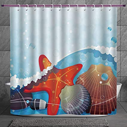 Funky Shower Curtain 20 Starfish DecorFoaming Ocean Waves Graphic With Scallops Seastar And