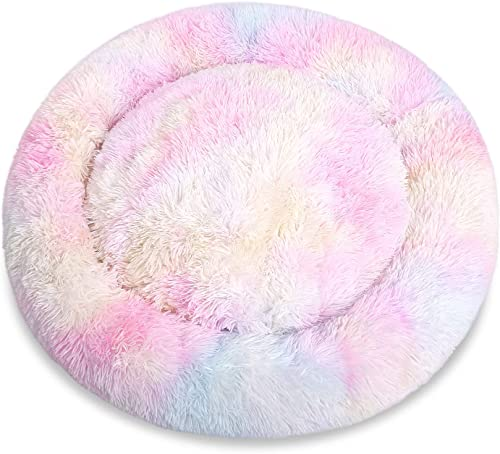 Kama Marshmallow Cat Bed, Round Donut Beds Sofa for Small Dogs, Warm Plush Calming Pet Bedding, Pluffy, Comfy Cute Faux Fur Cuddler Indoor