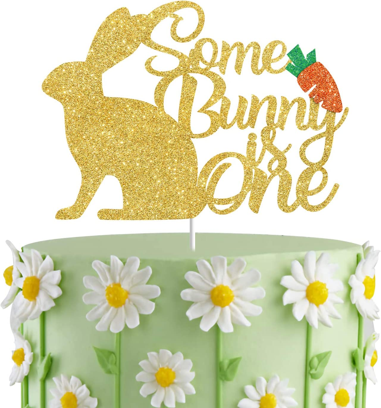 Some Bunny Is One Cake Topper,Bunny First Birthday Party Cake Decor; Spring Paty Decorations,Bunny Birthday Cake Smash Photo Prop