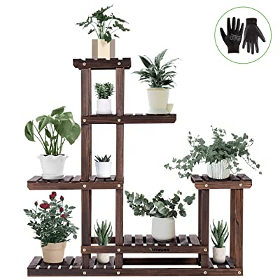 VIVOSUN Wood Plant Stand High Low Shelves Flower Rack Display for Indoor Outdoor Garden Lawn Patio Bathroom Office Living Room Balcony (6 Wood Shelves 10 Pots) : Garden & Outdoor