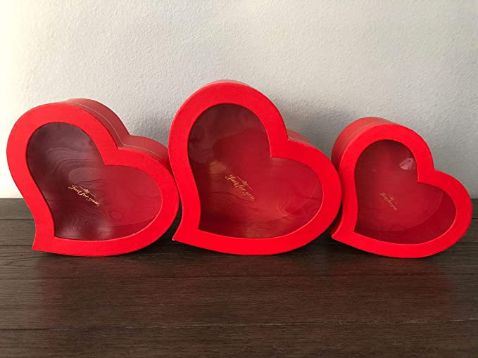 Amazon.com: [USA-SALES] Premium Quality European Style Heart Shaped Flower Box, Floral Gift Box, Set of 3, for Luxury Style Flower Arrangements, Ships from USA (Red): Home & Kitchen