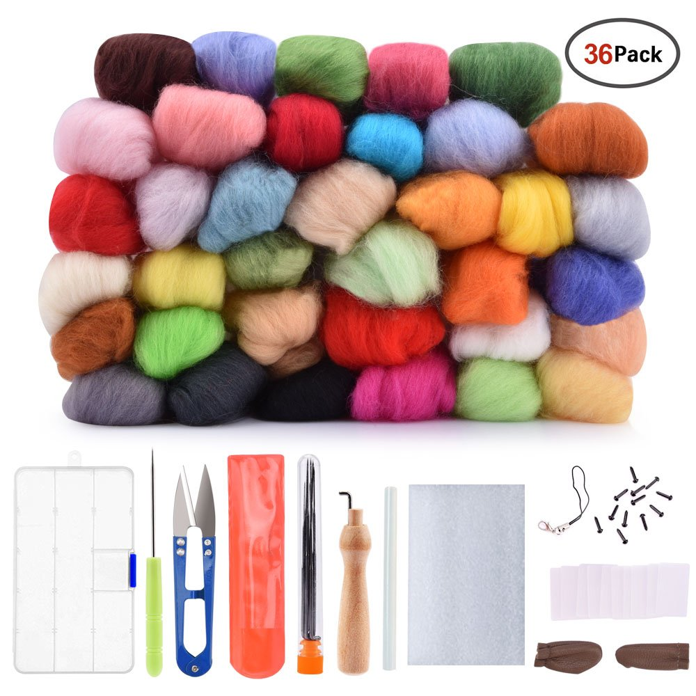 Hisome Needle Felting Wool Set Wool Felt Tools with 36 Colors Wool Roving Felting Starter Basic Kit 4336935519