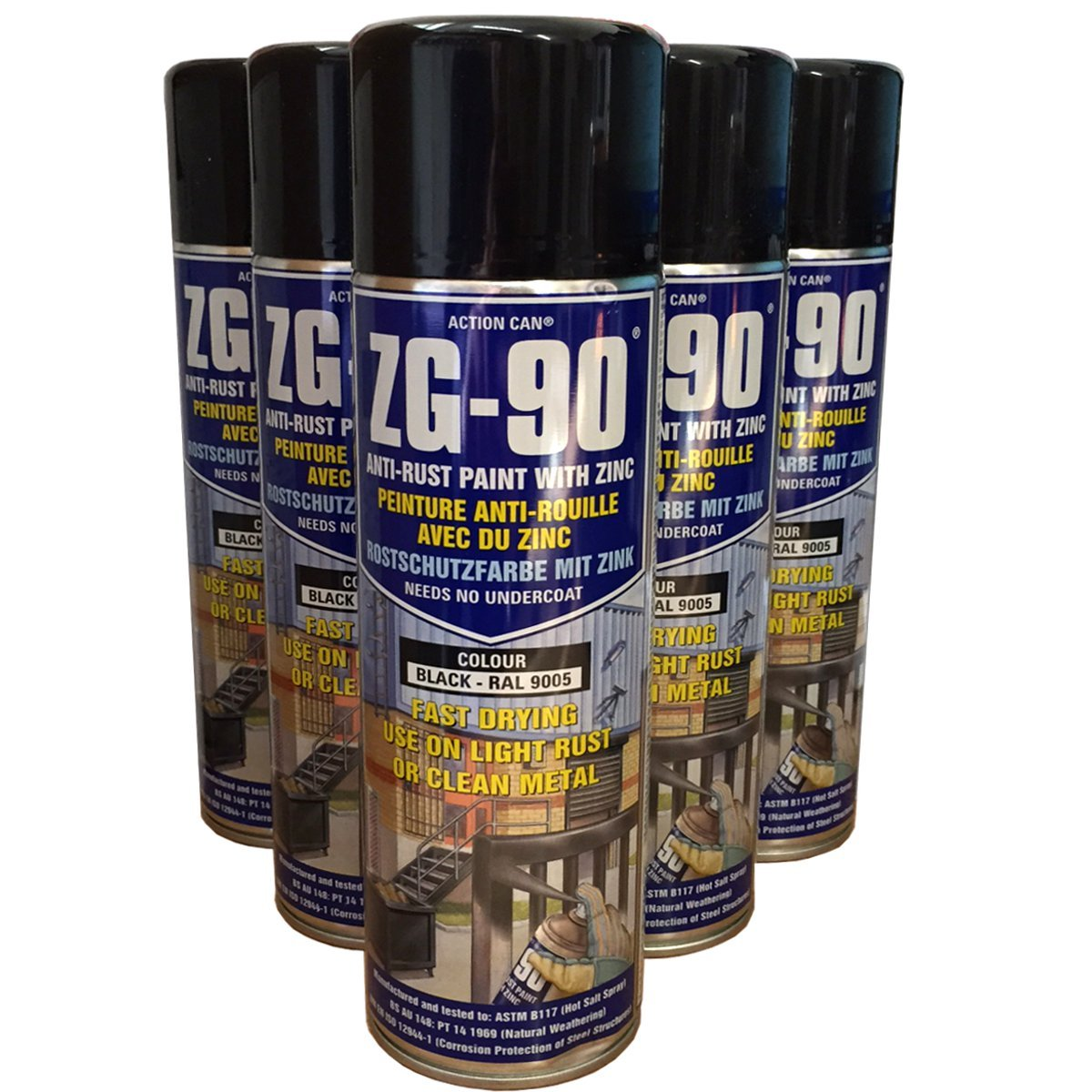 (PACK OF 2) 500ml ZG-90 BLACK RAL9005 Anti Rust Zinc Galve Metal Paint Action Can