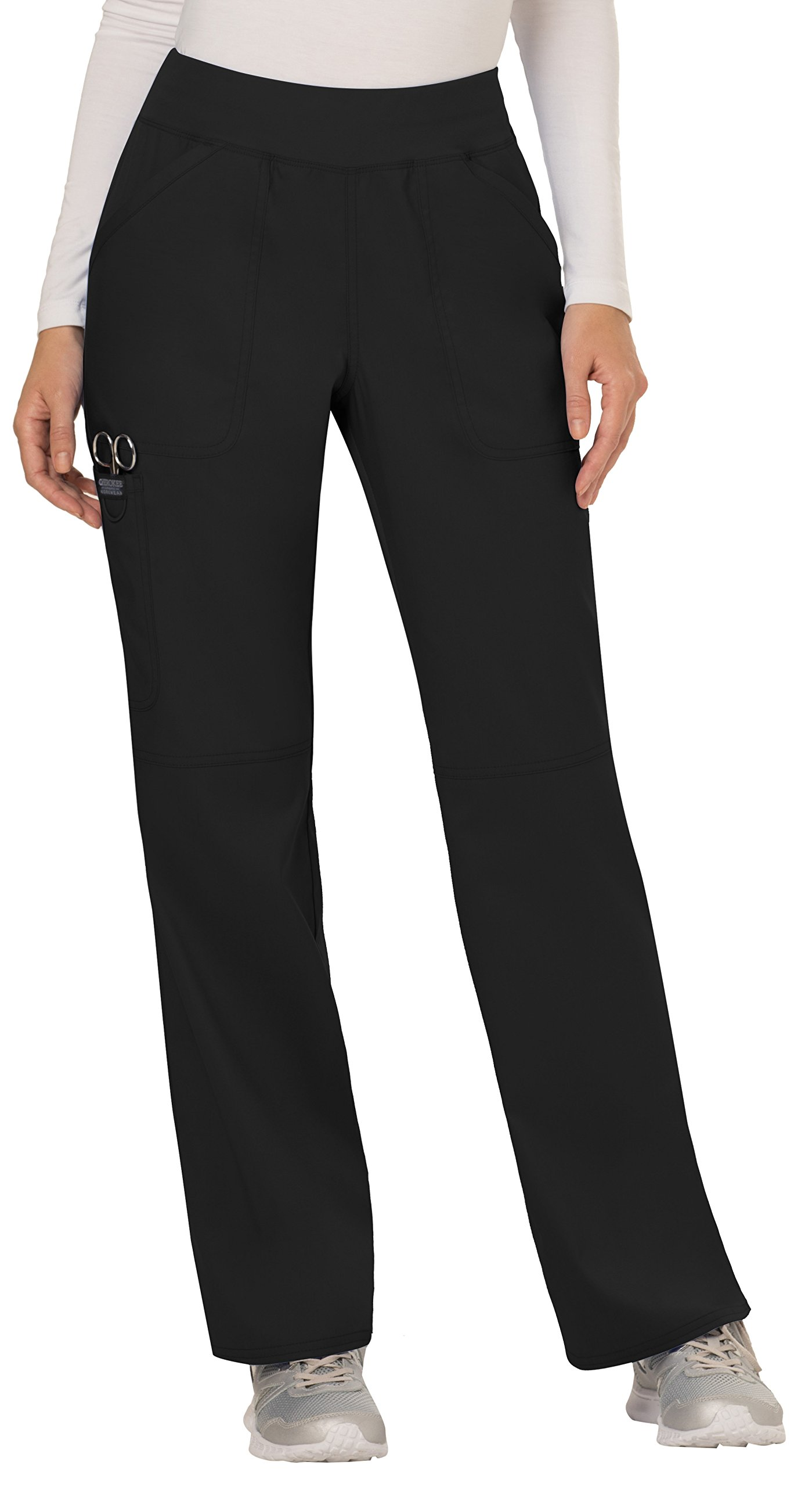 WW Revolution by Cherokee Women's Mid Rise Straight Leg Pull-on Pant, Black, L