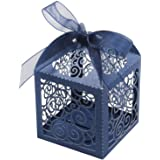 KPOSIYA 100 Pack Wedding Favor Boxes Laser Cut Boxes Party Favor Box Small Gift Boxes Lace Candy Boxes for Wedding…