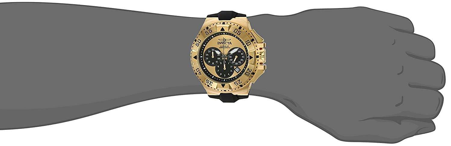 Invicta Men s Excursion Stainless Steel Quartz Watch with Silicone Strap, Black, 28 Model 23042