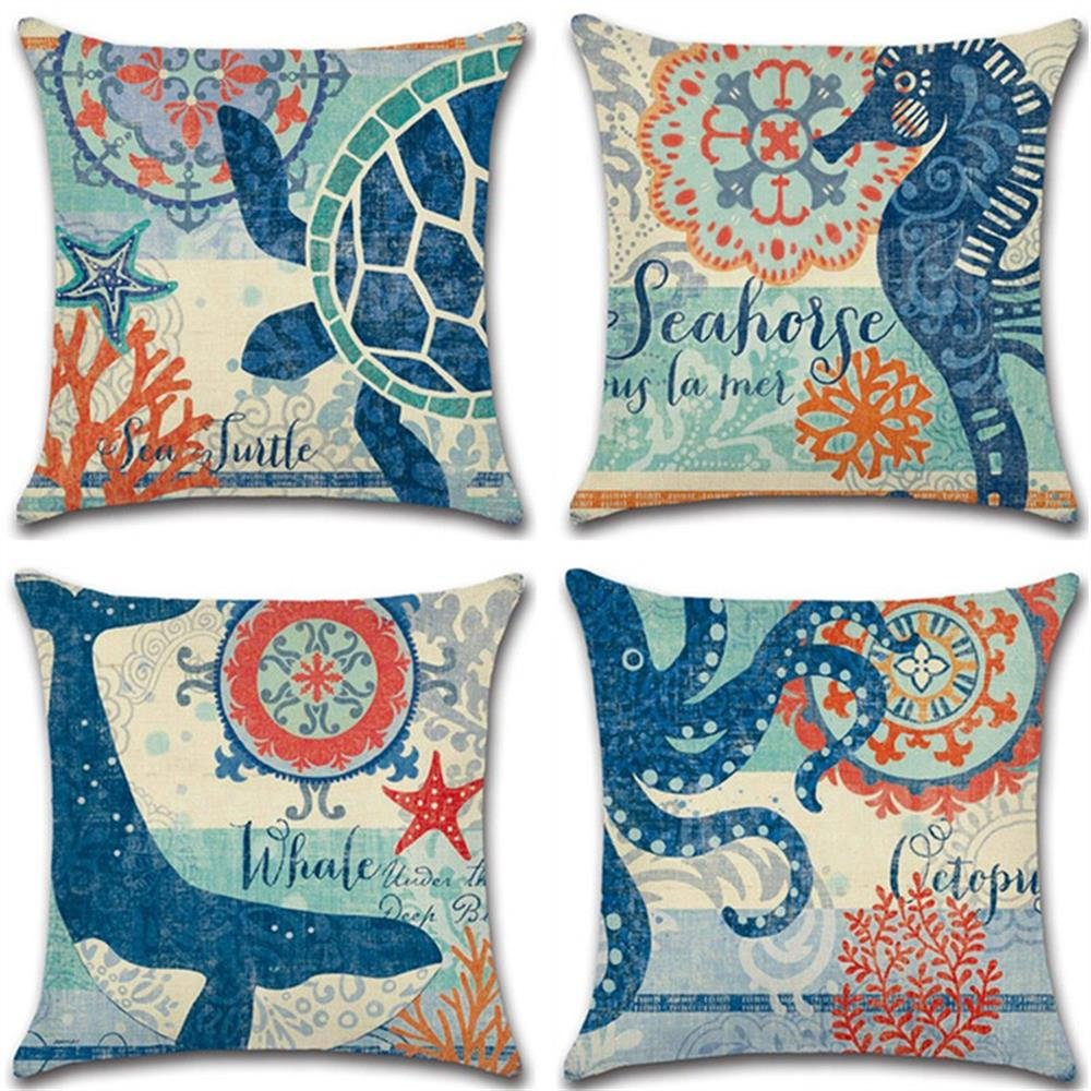 Mediterranean style Cotton Linen Square Decorative Throw Pillow Case Cushion Cover Starfish,Sea Horse,Shell