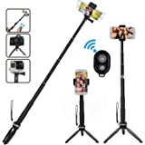 HEHUI Bluetooth Selfie Stick, Extendable Selfie Stick with Wireless Remote and Tripod Stand Selfie Stick for iPhone 8/8 Plus/iPhone X/iPhone 7/7 Plus/Galaxy S9/S9 Plus/Note 8/S8 /S8 Plus/More